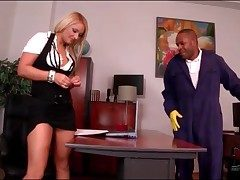 Dark-skinned tiler blown wide of blonde uncle