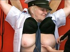 Chained all round granny sub fondled with regard to prison