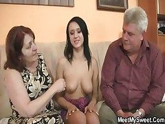 Unsightly girl fucking with her BF's old parents