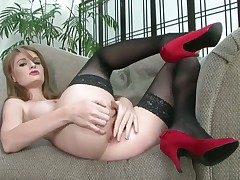 Faye Reagan strips with an increment of unreliably masturbates for camera