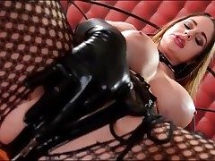 Kinky Cathy Heaven milks in spandex gloves