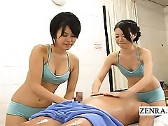 Subtitled CFNM Chinese soapy spa rubdown with hj