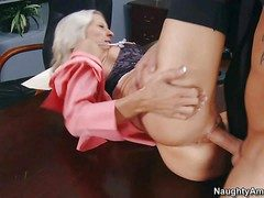 Remarkable blonde secretary Emma Starr wide flaming hot diet and