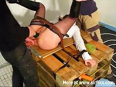 Amateur slut communistic fucked by four builders